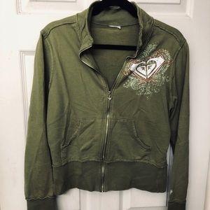 Quicksilver Roxy Olive Green crop sweatshirt